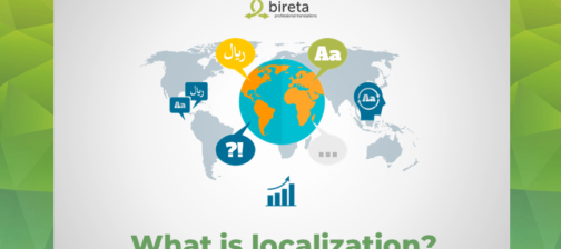 Globe with translation symbols Bireta logo What is localization?