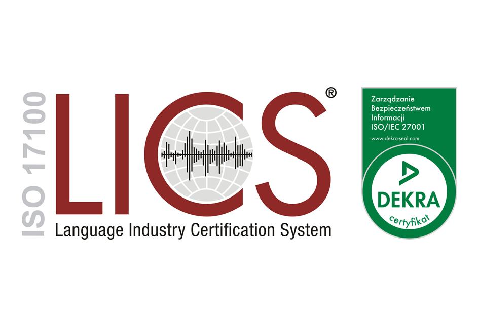 Logotyp ISO 17100 LICS ISO 27001 Dekra