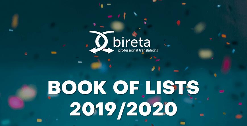 Logo Bireta Professional Translations i Book of Lists na tle confetti