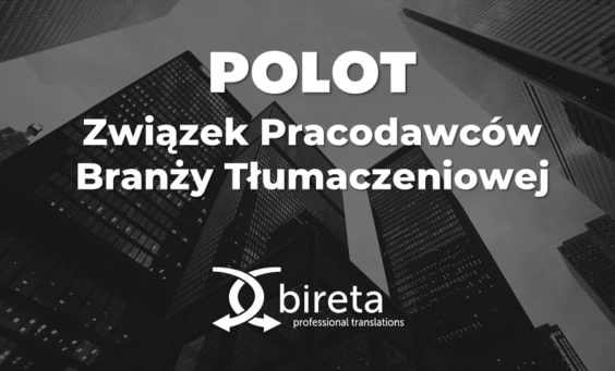 Logo Bireta Professional Translations i POLOT na tle wieżowców