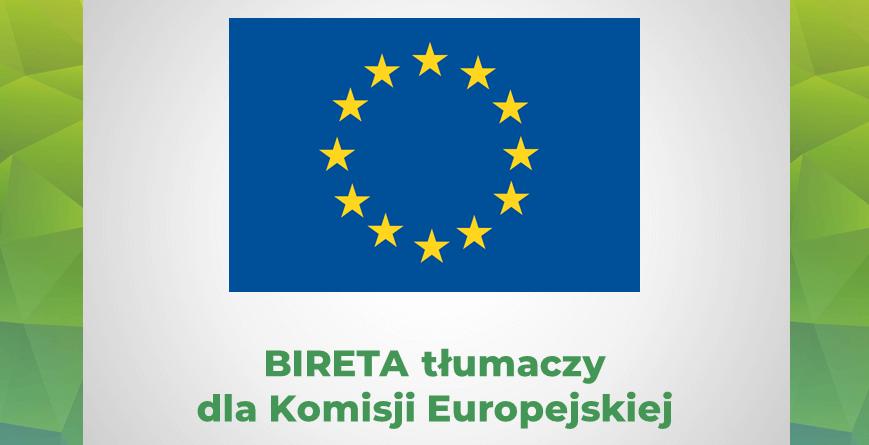 Flaga Unii Europejskiej Bireta tłumaczy dla Komisji Europejskiej