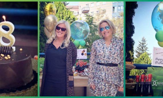 Kolaż zdjęć tort, szefowe biura tłumaczeń Bireta i balony z życzeniami urodzinowymi