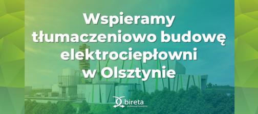 Napis i logo Bireta na tle zdjęcia elektrociepłowni w Olsztynie